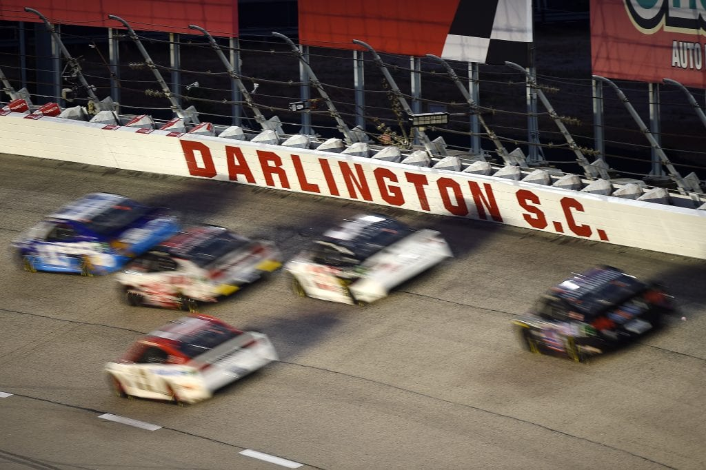 DARLINGTON, SOUTH CAROLINA - MAY 20: Cars race during the NASCAR Cup Series Toyota 500 at Darlington Raceway on May 20, 2020 in Darlington, South Carolina. (Photo by Jared C. Tilton/Getty Images)   Getty Images