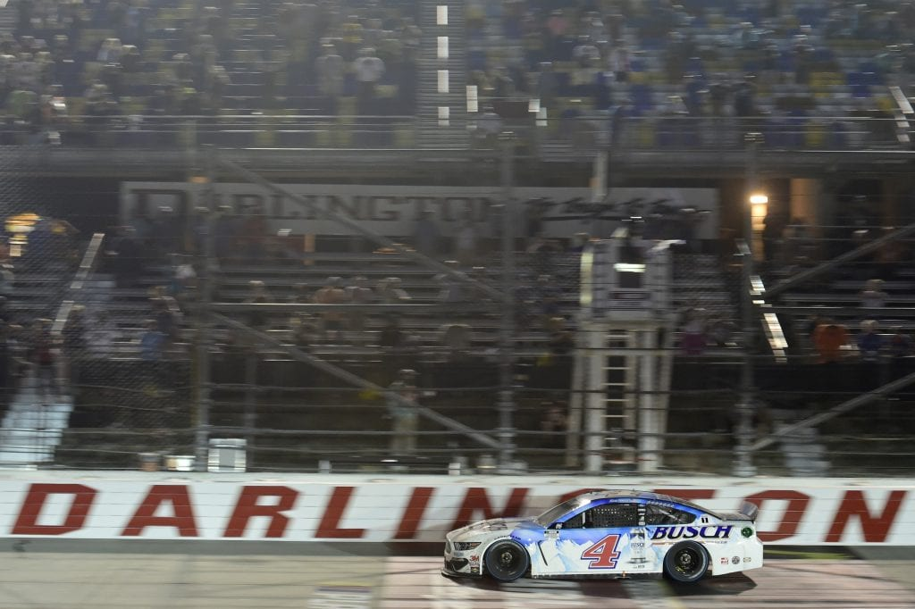 DARLINGTON, SOUTH CAROLINA - SEPTEMBER 06: Kevin Harvick, driver of the #4 Busch Beer Throwback Ford, crosses the finish line to win the NASCAR Cup Series Cook Out Southern 500 at Darlington Raceway on September 06, 2020 in Darlington, South Carolina. (Photo by Jared C. Tilton/Getty Images)   Getty Images