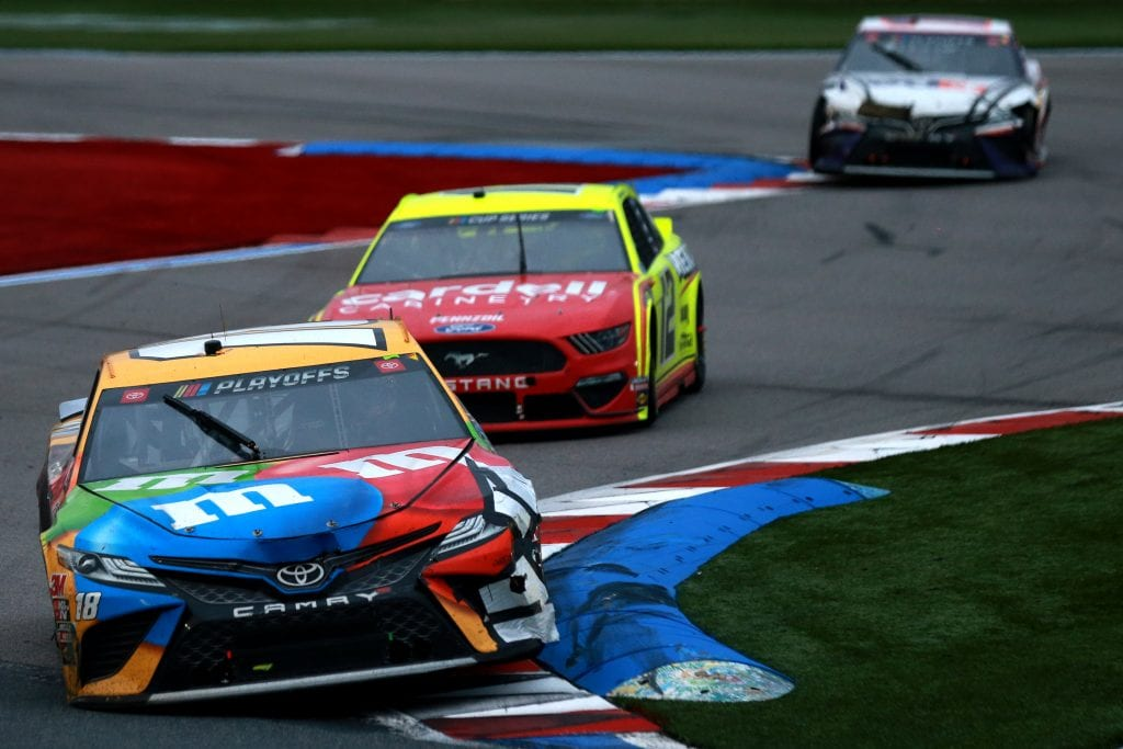 CONCORD, NORTH CAROLINA - OCTOBER 11: Kyle Busch, driver of the #18 M&M's Toyota, drives during the NASCAR Cup Series Bank of America ROVAL 400 at Charlotte Motor Speedway on October 11, 2020 in Concord, North Carolina. (Photo by Sean Gardner/Getty Images) | Getty Images