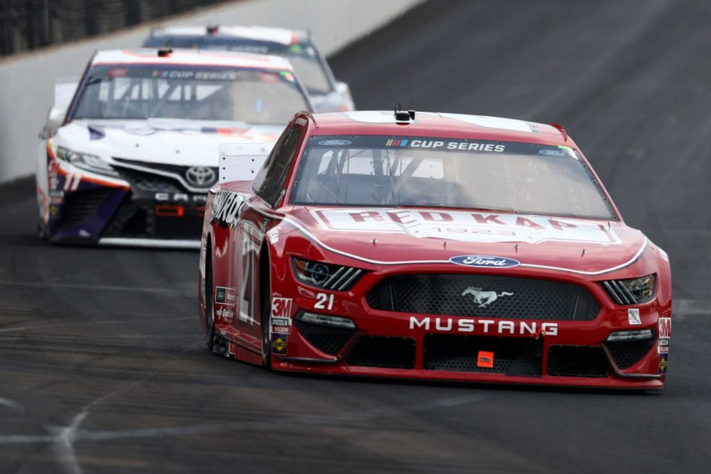 INDIANAPOLIS, INDIANA - JULY 05:  Matt DiBenedetto, driver of the #21 RED KAP/Menards Ford, leads a pack of cars during the NASCAR Cup Series Big Machine Hand Sanitizer 400 Powered by Big Machine Records at Indianapolis Motor Speedway on July 05, 2020 in Indianapolis, Indiana. (Photo by Jamie Squire/Getty Images)   Getty Images