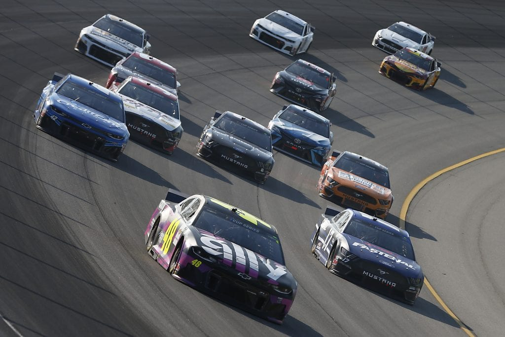 BROOKLYN, MICHIGAN - AUGUST 08: Jimmie Johnson, driver of the #48 Ally Fueling Futures Chevrolet, leads the field during the NASCAR Cup Series FireKeepers Casino 400 at Michigan at Michigan International Speedway on August 08, 2020 in Brooklyn, Michigan. (Photo by Brian Lawdermilk/Getty Images) | Getty Images