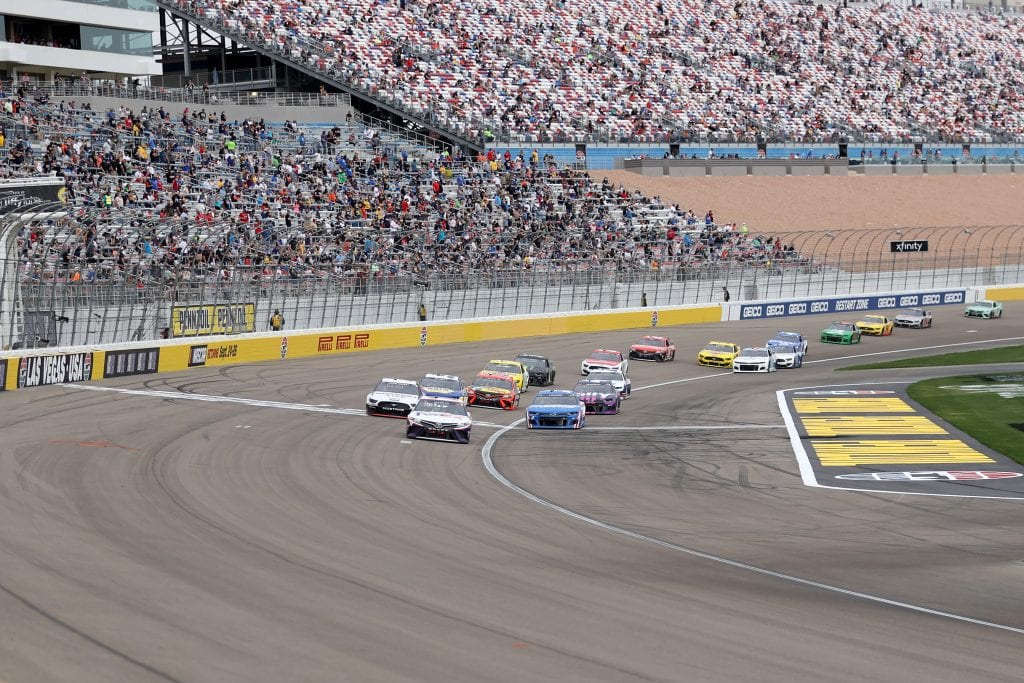 LAS VEGAS, NEVADA - MARCH 07: A general view of cars on track during the NASCAR Cup Series Pennzoil 400 presented by Jiffy Lube at the Las Vegas Motor Speedway on March 07, 2021 in Las Vegas, Nevada. (Photo by Abbie Parr/Getty Images)   Getty Images