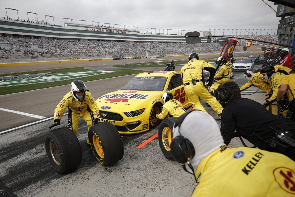 LAS VEGAS, NEVADA - MARCH 07: Joey Logano, driver of the #22 Pennzoil Ford, pits during the NASCAR Cup Series Pennzoil 400 presented by Jiffy Lube at the Las Vegas Motor Speedway on March 07, 2021 in Las Vegas, Nevada. (Photo by Chris Graythen/Getty Images)   Getty Images