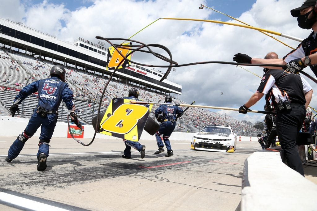 MARTINSVILLE, VIRGINIA - APRIL 11: Josh Berry, driver of the #8 Chevrolet Accessories Chevrolet, pits during the NASCAR Xfinity Series Cook Out 250 at Martinsville Speedway on April 11, 2021 in Martinsville, Virginia. (Photo by Brian Lawdermilk/Getty Images) | Getty Images