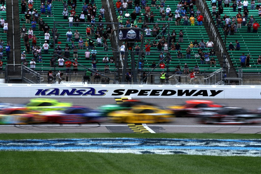 KANSAS CITY, KANSAS - MAY 02: Cars race during the NASCAR Cup Series Buschy McBusch Race 400 at Kansas Speedway on May 02, 2021 in Kansas City, Kansas. (Photo by Sean Gardner/Getty Images) | Getty Images