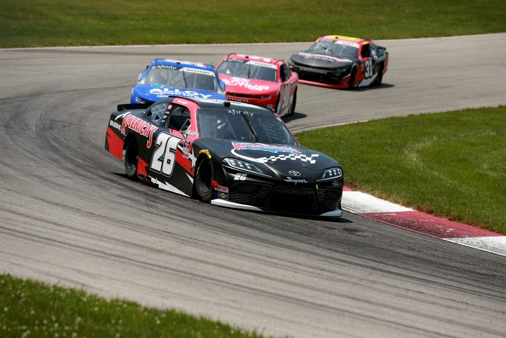 LEXINGTON, OHIO - JUNE 05: Kris Wright, driver of the #26 America's Auto Auction Toyota, drives during the NASCAR Xfinity Series B&L Transport 170 at Mid-Ohio Sports Car Course on June 05, 2021 in Lexington, Ohio. (Photo by Sean Gardner/Getty Images)   Getty Images
