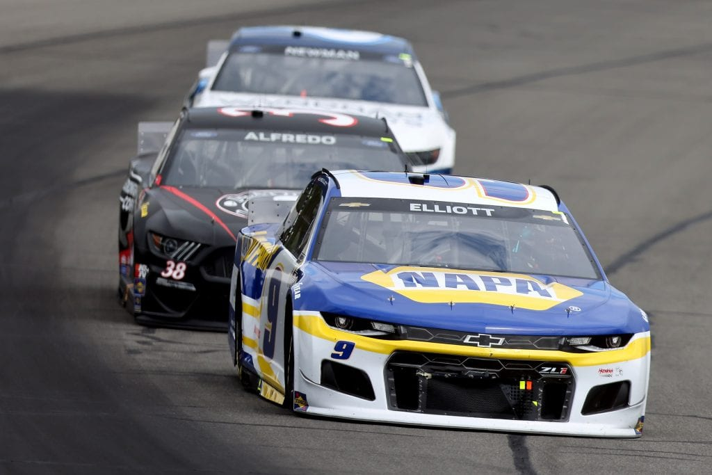 LONG POND, PENNSYLVANIA - JUNE 26: Chase Elliott, driver of the #9 NAPA Auto Parts Chevrolet, drives during the NASCAR Cup Series Pocono Organics CBD 325 at Pocono Raceway on June 26, 2021 in Long Pond, Pennsylvania. (Photo by James Gilbert/Getty Images)   Getty Images