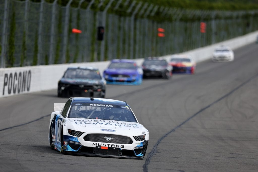 LONG POND, PENNSYLVANIA - JUNE 26: Ryan Newman, driver of the #6 Wyndham Rewards Ford, drives during the NASCAR Cup Series Pocono Organics CBD 325 at Pocono Raceway on June 26, 2021 in Long Pond, Pennsylvania. (Photo by James Gilbert/Getty Images)   Getty Images