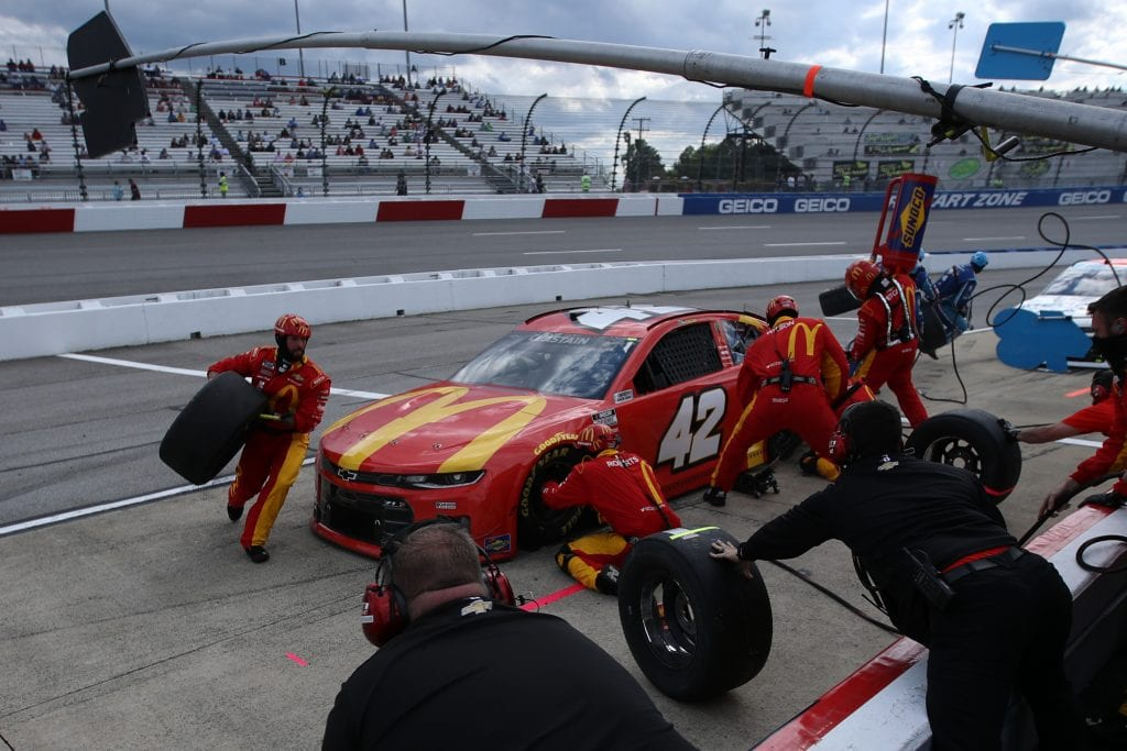 RICHMOND, VIRGINIA - APRIL 18: Ross Chastain, driver of the #42 McDonald's Chevrolet, pits during the NASCAR Cup Series Toyota Owners 400 at Richmond Raceway on April 18, 2021 in Richmond, Virginia. (Photo by Sean Gardner/Getty Images) | Getty Images