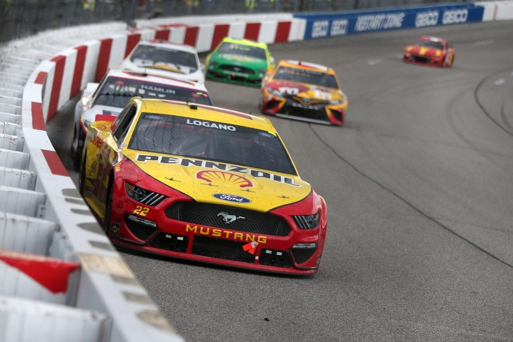 RICHMOND, VIRGINIA - APRIL 18: Joey Logano, driver of the #22 Shell Pennzoil Ford, drives during the NASCAR Cup Series Toyota Owners 400 at Richmond Raceway on April 18, 2021 in Richmond, Virginia. (Photo by Brian Lawdermilk/Getty Images) | Getty Images