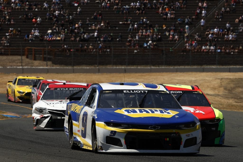 SONOMA, CALIFORNIA - JUNE 06: Chase Elliott, driver of the #9 NAPA Auto Parts Chevrolet, leads the field during the NASCAR Cup Series Toyota/Save Mart 350 at Sonoma Raceway on June 06, 2021 in Sonoma, California. (Photo by Maddie Meyer/Getty Images) | Getty Images