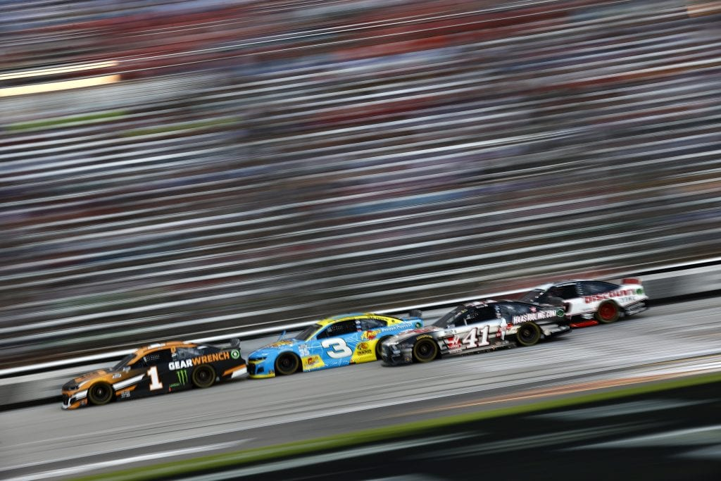FORT WORTH, TEXAS - JUNE 13: Kurt Busch, driver of the #1 GEARWRENCH Chevrolet, Austin Dillon, driver of the #3 Andy's Frozen Custard Chevrolet, and Cole Custer, driver of the #41 HaasTooling.com Ford, race during the NASCAR All-Star Race at Texas Motor Speedway on June 13, 2021 in Fort Worth, Texas. (Photo by Jared C. Tilton/Getty Images) | Getty Images