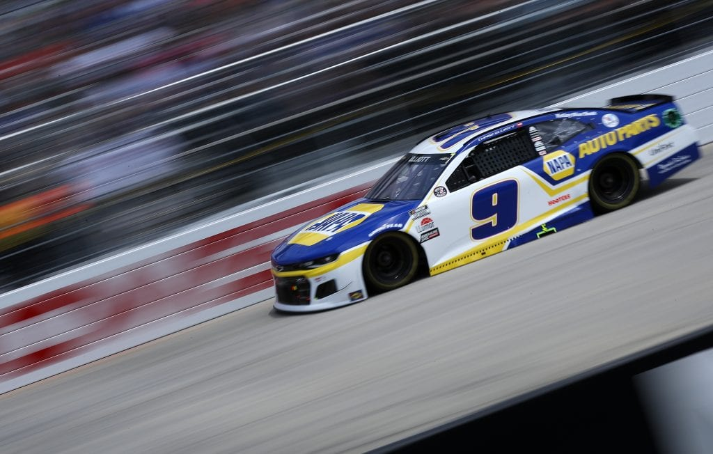 DOVER, DELAWARE - MAY 16: Chase Elliott, driver of the #9 NAPA Auto Parts Chevrolet, races during the NASCAR Cup Series Drydene 400 at Dover International Speedway on May 16, 2021 in Dover, Delaware. (Photo by Sean Gardner/Getty Images)   Getty Images