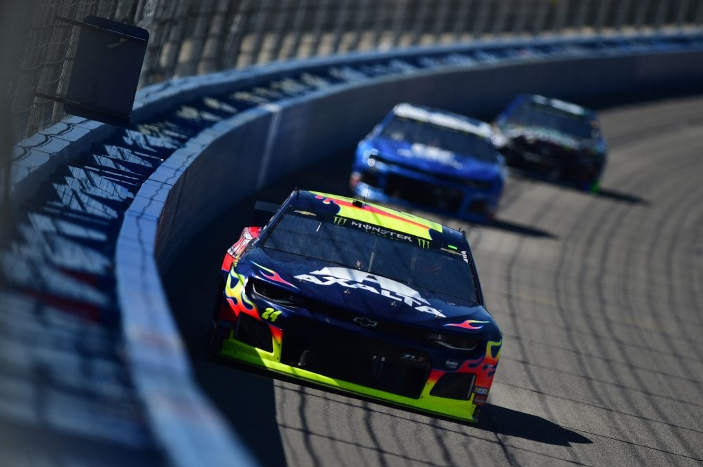 FONTANA, CA - MARCH 17:  William Byron, driver of the #24 Axalta Chevrolet, leads a pack of cars during the Monster Energy NASCAR Cup Series Auto Club 400 at Auto Club Speedway on March 17, 2019 in Fontana, California.  (Photo by Jared C. Tilton/Getty Images) *** Local Caption *** William Byron | Getty Images
