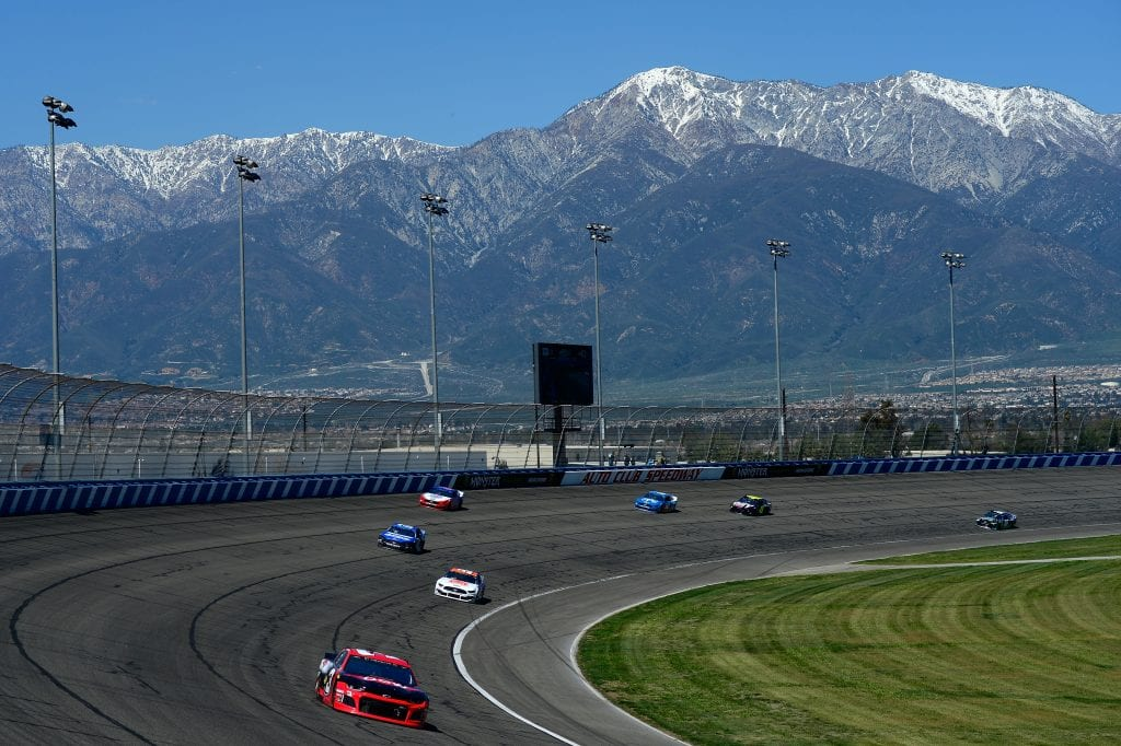 FONTANA, CA - MARCH 17:  Austin Dillon, driver of the #3 Dow Coatings Chevrolet, leads a pack of cars during the Monster Energy NASCAR Cup Series Auto Club 400 at Auto Club Speedway on March 17, 2019 in Fontana, California.  (Photo by Robert Laberge/Getty Images) *** Local Caption *** Austin Dillon | Getty Images