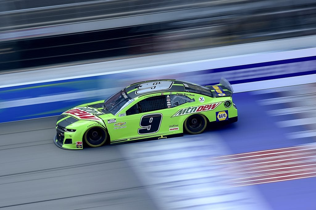 BROOKLYN, MICHIGAN - AUGUST 09: Chase Elliott, driver of the #9 Mountain Dew Chevrolet, drives during the NASCAR Cup Series Consumers Energy 400 at Michigan at Michigan International Speedway on August 09, 2020 in Brooklyn, Michigan. (Photo by Jared C. Tilton/Getty Images) | Getty Images
