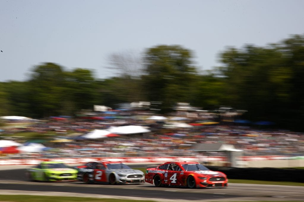 ELKHART LAKE, WISCONSIN - JULY 04: Kevin Harvick, driver of the #4 Busch Light Apple Ford, drives during the NASCAR Cup Series Jockey Made in America 250 Presented by Kwik Trip at Road America on July 04, 2021 in Elkhart Lake, Wisconsin. (Photo by Jared C. Tilton/Getty Images)   Getty Images