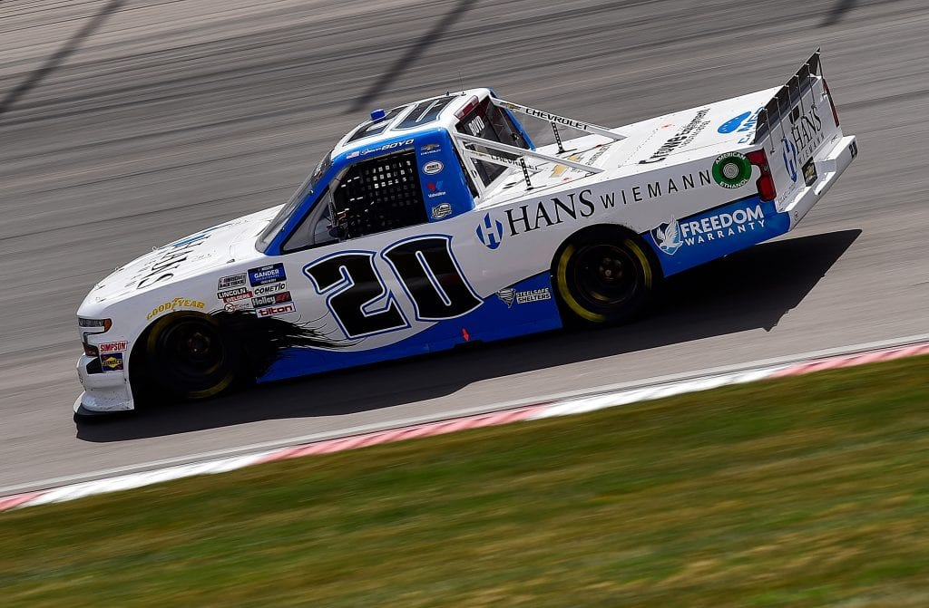 MADISON, ILLINOIS - AUGUST 30: Spencer Boyd, driver of the #20 Hans Wiemann Chevrolet, drives during the NASCAR Gander Outdoors Truck Series CarShield 200 Presented by CK Power on August 30, 2020 in Madison, Illinois. (Photo by Jeff Curry/Getty Images)   Getty Images