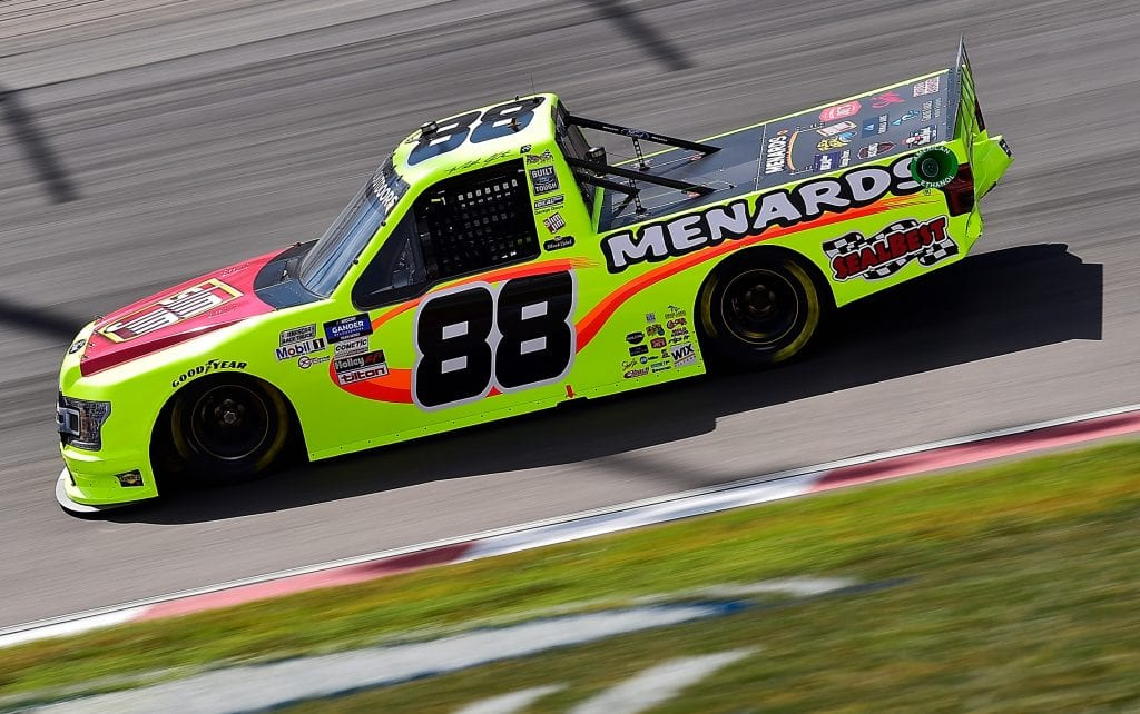 MADISON, ILLINOIS - AUGUST 30: Matt Crafton, driver of the #88 Slim Jim/Menards Ford, drives during the NASCAR Gander Outdoors Truck Series CarShield 200 Presented by CK Power on August 30, 2020 in Madison, Illinois. (Photo by Jeff Curry/Getty Images)   Getty Images