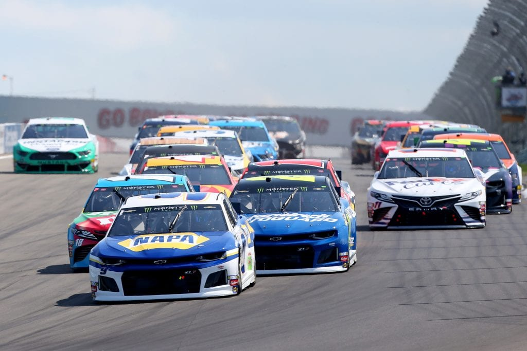 WATKINS GLEN, NEW YORK - AUGUST 04: Chase Elliott, driver of the #9 NAPA AUTO PARTS Chevrolet, takes the green flag to start the Monster Energy NASCAR Cup Series Go Bowling at The Glen at Watkins Glen International on August 04, 2019 in Watkins Glen, New York. (Photo by Matt Sullivan/Getty Images) | Getty Images